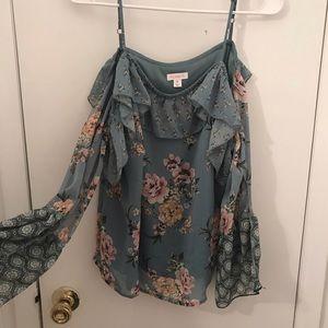 Off the shoulder long sleeve floral shirt